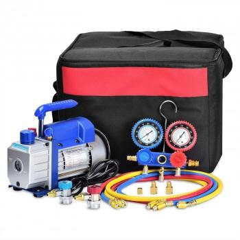 Bomba de Vacío, R22, R134a, R410A, R407C, 85 litros/min y juego de Manómetros