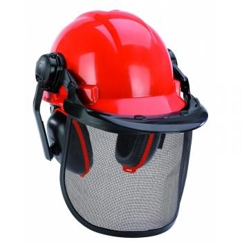 Casco seguridad con protección auditiva y máscara