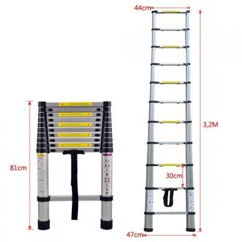 Escalera Extensible de Aluminio, 11 Peldaños - 81 cm a 3,20 m